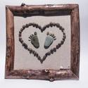 Kőkép görbefa keretben, Dekoráció, Otthon, lakberendezés, Kép, Falikép, 25x25 cm-es natúr vászonra ragasztott természetes kövekből készült kép lakkozott görbefa keretben.Mi..., Meska