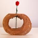 Görbefa korong váza, Dekoráció, Otthon, lakberendezés, Kaspó, virágtartó, váza, korsó, cserép, Kb 35 cm átmérőjű korongban hengeres váza. Csiszolva lakkozva., Meska
