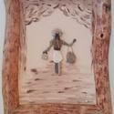 Kavicskép görbefa keretben, Dekoráció, Kép, Pasztellszínű akrilfestékkel vászonra festett,szilikonnal ragasztott kavicskép. A keret görbefából k..., Meska