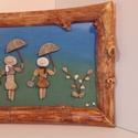 Kavicskép lányokkal, Dekoráció, Otthon, lakberendezés, Kép, Falikép, Görbefa keretbe foglalt kavicskép festett háttérrel. Mérete: 30x40 cm. Könnyed,tavaszi hangulatú egy..., Meska
