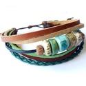 Kerámia gyöngyös karkötő, Ékszer, óra, Karkötő, Saját készítésű egyedi kerámia gyöngyökből és öt különböző színű  valódi bőr csí..., Meska