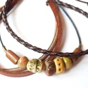 Kerámia gyöngyös karkötő, Ékszer, óra, Karkötő, Saját készítésű egyedi kerámia gyöngyökből és három különböző színű  valódi bőr c..., Meska