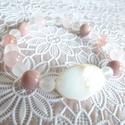 """""""Rózsaszínek""""-ásványos karkötő, Ékszer, óra, Karkötő, Ovális kagyló köztes dísszel ,rózsakvarc, eperkvarc, rodonit- 8mm-es ásvány gyöngyök, valam..., Meska"""
