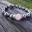 Rózsakvarcos hematit ásvány karkötő, Ékszer, Karkötő, A rózsakvarc a szeretet köve, a 12 mesterkristály ásványok negyedik eleme. Ezt a csodaszép 10 mm-es ..., Meska