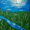 """Holdfény, Dekoráció, Kép, """"Holdfény"""" című akril, vászon, 25x30 cm-es festményemet ajánlom figyelmetekbe. Tompítatlan sz..., Meska"""
