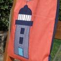 Világítótornyos hátizsák, Táska, Hátizsák, Egyedi applikációval, narancssárga pamutvászonból készítettem ezt a hátizsákot/tornazsákot.   Belsej..., Meska
