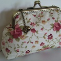 Csatos, virágos, cicás pénztárca, Virágmintás minőségi pamutvászonból, antik b...