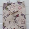 Levendulás táska+neszesszer, Natúr alapon levendula mintás vászonból varrta...