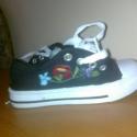 torna cipő28-as, Ruha, divat, cipő, Baba-mama-gyerek, Magyar motívumokkal, hímzett fekete tornacipő 28as méret új, Meska