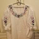 kalocsai bluz, Ruha, divat, cipő, Női ruha, Blúz, kalocsai riselios bluz méretre kérkető, Meska