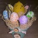 Húsvéti asztaldísz tojásfészek vintage, Dekoráció, Otthon, lakberendezés, Ünnepi dekoráció, Húsvéti apróságok, Festett tárgyak, Mindenmás, Agyagcserép alap lett lefestve mentás színű Dekor soft paint festékkel, amely száradás után néhol v..., Meska
