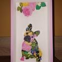 Virágos franci bulldogos kép / tálca / ékszertartó, Otthon, lakberendezés, Dekoráció, Kép, Tárolóeszköz, 25*14*4,5 cm méretű fa alap lett Dekor Soft Paint festékkel festve és dekupázs technikával dí..., Meska