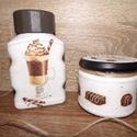 Kávés-bonbonos konyhai tároló szett, Konyhafelszerelés, Otthon, lakberendezés, Tárolóeszköz, Kávés üveg és egy kisebb méretű üveg újrahasznosításából álló szett. Kávés és bonbonos díszítéssel, ..., Meska
