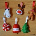 Filc karácsonyfa díszek I., Kézzel készült filc karácsonyfa dísz csomag. ...