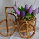 Tulipán csokorban, Dekoráció, Ünnepi dekoráció, Húsvéti apróságok, Csokor, Pamut tulipánok csokorban. 1 csokorban 9 szál van.  Hossza 30 cm.  Előzetes egyeztetés után rendelhe..., Meska