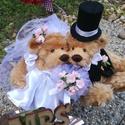 Esküvői pár, Esküvő, Játék, Játékfigura, Plüssállat, rongyjáték, Mackóéknál nagy nap van! Igazi szerelem az övék, amit nem titkolnak a világ elől. A menyasszonyt és ..., Meska