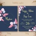 Esküvői virágos meghívó / csodaszép meghívó / két oldalas esküvői meghívó / stílusos meghívó / rusztikus meghívó, Esküvő, Szerelmeseknek, Meghívó, ültetőkártya, köszönőajándék, Esküvői dekoráció, Fotó, grafika, rajz, illusztráció, Papírművészet, CSOMAG TARTALMA: -Két oldalas meghívó lap A6-os méretben (105mm x 148mm)  -boríték C6-os méretben..., Meska