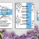 Esküvői meghívó / modern stílus / romantikus esküvő / stílusos meghívó / rusztikus meghívó / rózsás esküvői meghívó, Esküvő, Szerelmeseknek, Meghívó, ültetőkártya, köszönőajándék, Esküvői dekoráció, Fotó, grafika, rajz, illusztráció, Papírművészet, CSOMAG TARTALMA: -Egy oldalas meghívó lap A6-os méretben (105mm x 148mm)  -Egy oldalas részleteke..., Meska