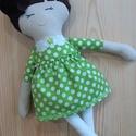 Textil baba, Játékbaba, Rongybaba, Pöttyös ruhás kézműves baba, Játék & Gyerek, Baba & babaház, Öltöztethető baba, Baba-és bábkészítés, Varrás, Enani Baba (45-48cm) A baba testét 100%  pamut vászonból, a ruháját designer organikus pamutvászonb..., Meska