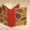 Napló, emlékkönyv, jegyzetelő üres lapokkal. Kemény borító, keleties mintával, bordó vászon gerinc, Naptár, képeslap, album, Baba-mama-gyerek, Jegyzetfüzet, napló, Könyvkötés, Papírművészet, Kézzel fűzött napló, jegyzetelő, emlékkönyv üres lapokkal.  A kemény könyvborító keleties mintájú c..., Meska