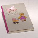 Babanapló, babakönyv kislányoknak, emlékkönyv baba születésére, kézzel fűzött, rajzolt borító lány macival, Naptár, képeslap, album, Baba-mama-gyerek, Jegyzetfüzet, napló, Könyvkötés, Fotó, grafika, rajz, illusztráció, Babanapló, babakönyv kislányoknak, emlékkönyv baba születésére. Keresztelői emlék és ajándék, egyed..., Meska