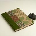 Zöld és barna B5 félvásznas napló, emlékkönyv, vendégkönyv antikollapokkal. Kemény borító, keki vászon gerinc és sarkok