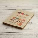 Receptgyűjtő könyv, retro stílusú recepteskönyv a saját receptekhez, konyhai eszközök a vászon borítón. Egyedi címmel is, Receptgyűjtő könyv, retro stílusú recepteskö...