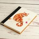 Napló macskásoknak, üres lapos A5 notesz vászon gerinccel, kézzel fűzött macskás emlékkönyv, jegyzetelő, hátul pöttyös, Napló macskásoknak, üres lapos A5 notesz vászo...