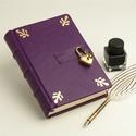 Lila titkos napló, valódi bőr napló szív alakú lakattal és kulccsal, kulcsoskönyv sima, üres lapokkal, aranyozott borító, Otthon & lakás, Naptár, képeslap, album, Jegyzetfüzet, napló, Lila titkos napló, valódi bőr napló szív alakú lakattal és kulccsal, kulcsoskönyv sima, üres lapokka..., Meska