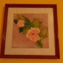 Fali kép, Dekoráció, Képzőművészet, Kép, Festmény, Üvegre festet virág mintás falikép ,kerettel együtt 30 cm x 30 cm méretű, Meska