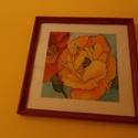 fali kép, Dekoráció, Otthon, lakberendezés, Falikép, Üvegre festet virág mintás falikép ,kerettel együtt 30 cm x 30 cm méretű, Meska