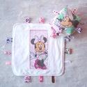 Babarongyi + kocka  Minni egeres, Baba-mama-gyerek, Játék, Készségfejlesztő játék, Minni egeres pamutvászon és törölköző frottírból készült rongyi . A kocka frízzel van tömve. Pasztel..., Meska