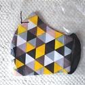 Szájmaszk, női, kamasz, bakfis méret L   háromszög mintás ( sárga, fekete, fehér, szürke ), Egyedi, mintás, mosható egészségügyi  Női, k...