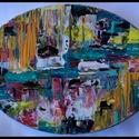 Ovál Absztrakt , Képzőművészet, Otthon, lakberendezés, Festmény, Falikép, Festészet, Festett tárgyak, 20 x 15 cm,Akrillal festve,festőkés technikával . Feszített vászon,vakkeretre feszítve. Lakkozott. ..., Meska