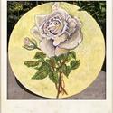 Rózsaszál , Képzőművészet, Dekoráció, Festmény, Akril, Festészet, Festett tárgyak, Kör vakrámás alapozott vászonra festettem Akrillal ezt a rózsát.20x20 cm-es,Lakozott. Képakasztót i..., Meska