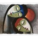 Szeretet, Képzőművészet, Festmény, Festett tárgyak, Festészet, Akril festékkel készítettem ,18x24 cm-es alapozott kartonos vászonra.Lakkozva is van.Könnyen kerete..., Meska