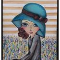 Lady, Képzőművészet, Dekoráció, Festmény, Dísz, Festészet, Festett tárgyak, 18x24 cm - es a festmény .Akrillal van festve ,kartonos alapozott vászonra ,mely könnyen keretezhet..., Meska