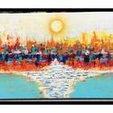 Naplemente.Absztrakt., Képzőművészet, Festmény, Akril, Napi festmény, kép, A vászon 25x50 cm.Gessoval alapozva,és Akrillal festve.Lakkozva is van.Kérésre képakasztót is ..., Meska