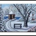 Téli kert, Képzőművészet, Festmény, Akril, Napi festmény, kép, A festmény 18x24 cm-es,fenyőfa keretre feszített vászonra készült.Akril festéket hasznàltam...., Meska
