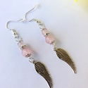 Angyalszárnyas rózsakvarc fülbevaló, Ékszer, Fülbevaló, PinkCloud kollekció - angyali boldogság fülbevaló  8 és 6mm-es rózsakvarc ásványokkal, antik ezüst s..., Meska