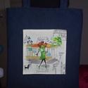 Szaladgálós csajos 1, Táska, Tarisznya, Varrás, Kék farmer anyagból készítettem ezt a szuper pakolós táskát. Pöttyös anyaggal kibéleltem, belülre e..., Meska