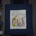 Szaladgálós csajos 3, Táska, Tarisznya, Varrás, Kék farmer anyagból készítettem ezt a szuper pakolós táskát. Pöttyös anyaggal kibéleltem, belülre e..., Meska
