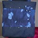 Kék farmer táska, Táska, Válltáska, oldaltáska, Varrás, Két fajta farmer anyagból varrtam ezeket a szegeccsel és virággal díszített táskákat, összesen 2 da..., Meska