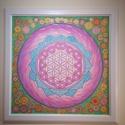 Élet virága mandala selyemkép kis virágos szegéllyel, Dekoráció, Kép, Festészet, Selyemfestés, A szakrális geometriából ismert Élet virága mandalát ábrázoló 100% hernyóselyemre festett kép, körb..., Meska