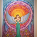 Angyal selyemkép, Dekoráció, Kép, Festészet, Selyemfestés, 100% hernyóselyemre festett angyalt ábrázoló színes kép, arany, és gyöngyház fehér effektekkel. Mér..., Meska