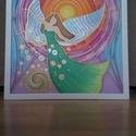 Spirituális selyemkép angyalos, Dekoráció, Kép, Festészet, Selyemfestés, 100% hernyóselyemre festett angyalt ábrázoló színes kép, arany, és gyöngyház fehér effektekkel. Mér..., Meska
