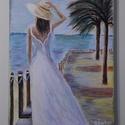 Várakozás a kedvesre, Képzőművészet, Festmény, Akril, Festészet, 18x24 cm-es akril festmény, feszített vásznon  Azoknak ajánlom ezt a képet, akik szeretik a tengert..., Meska