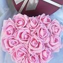 Romantikus szív rózsadoboz , Otthon, lakberendezés, Baba-mama-gyerek, Dekoráció, Asztaldísz, Virágkötés, Rózsaszín habrózsákból álló szív alakú virágdoboz. Kifejezhetjük vele hálánkat és tiszteletünket. E..., Meska