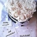 Snow White box, Dekoráció, Esküvő, Otthon, lakberendezés, Asztaldísz, Virágkötés, Fehér rózsa az ártatlanság, tisztaság színe. Valamint a hűséget is jelképezi. Ez a virágdoboz hófeh..., Meska
