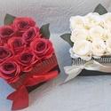 Csillogó rózsadoboz szett (2 db), Anyák napja, Esküvő, Szerelmeseknek, Otthon, lakberendezés, A szett 2 db 9 szálas selyemrózsadobozt tartalmaz. Választható narancs, fehér  és vörös színekben.  ..., Meska